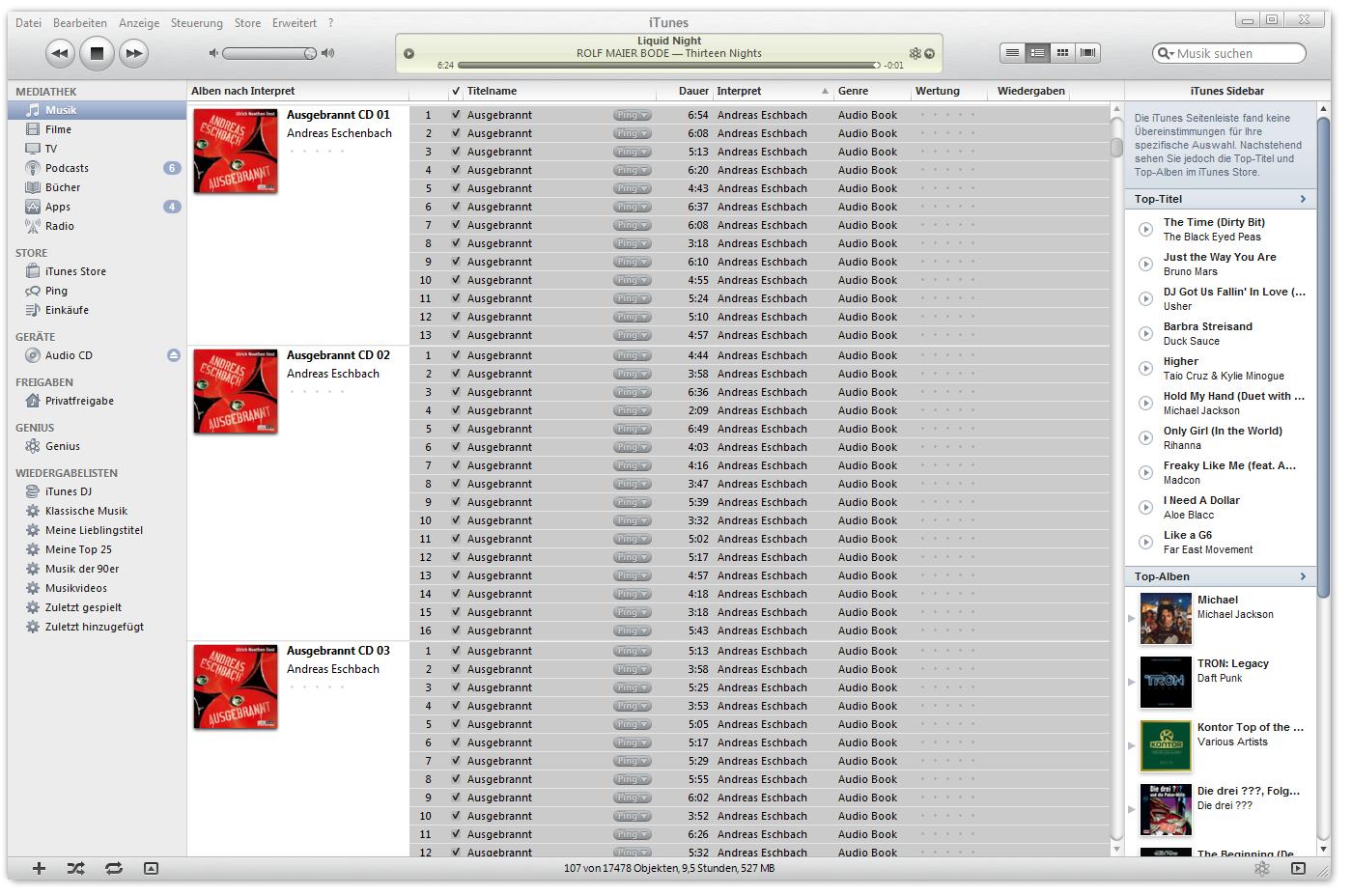 alle MP3-Dateien in iTunes markiert